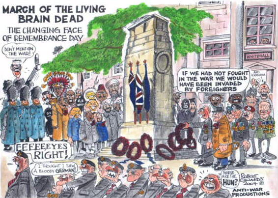 A cartoon poking fun at the Cenotaph ceremony, illustrating that while Britain officially won WWII, in reality it lost it