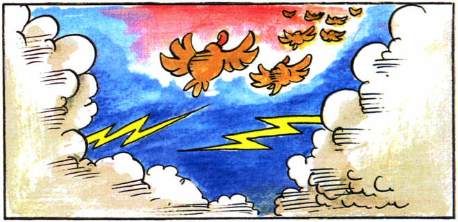 A panel from The Fable of the Ducks and the Hens comic book