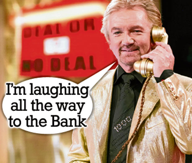 Image courtesy of the Sun newspaper, 17/11/2013. Noel Edmonds laughs all the way to the bank
