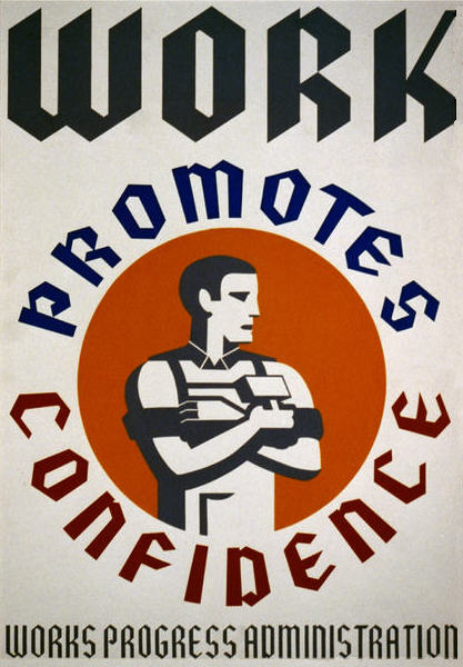 Old image from the Library of Congress, 'Work Promotes Confidence.' True, but it also makes the super-rich even richer
